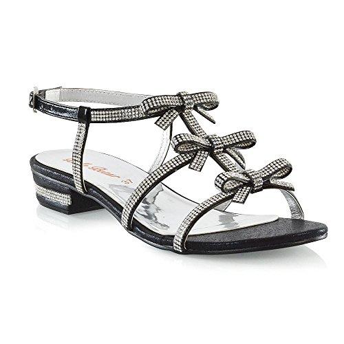Nero Cinghietti Glam Estate Diamante Piatto Le Sandali Da Essex Scarpe Signore Donna Fiocco A7UdC