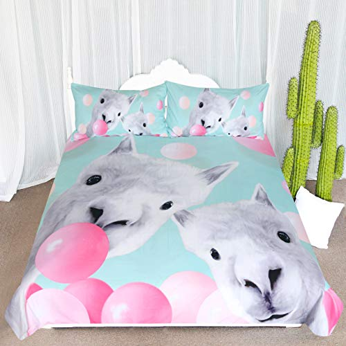ARIGHTEX Llama Bedding Cute Alpaca and Bubbles Funny Duvet Cover 3 Piece Mint Green Kids Girls Animal Cartoon Bed Set (Twin)