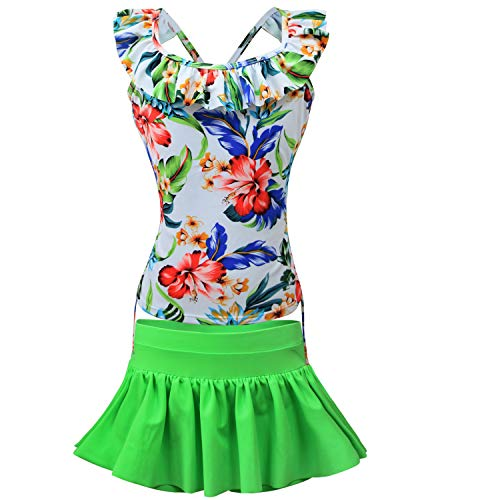 (kalawalk Girls' Adjustable 4Y-15Y Two Piece Flower Pattern Ruffle Swimwear Bathing Suit(FBA) (White iris+Green, 10))