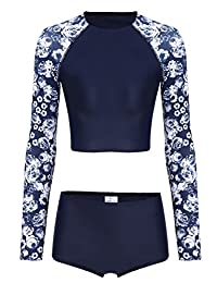 Ekouaer Womens Long Sleeve Rashguard Swimwear High Waist Two Piece Bathing Suit