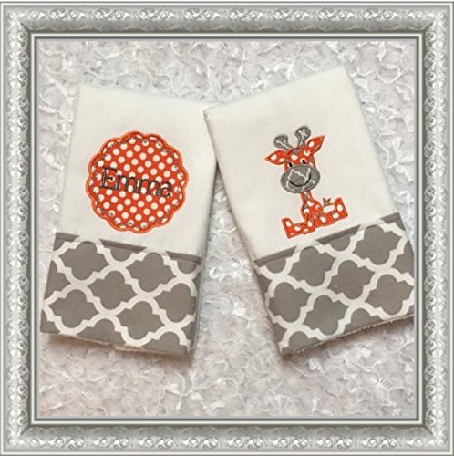 2 Giraffe Embroidered, Appliqued, Personalized Burp Cloths, Gray and Orange burp cloth, Boutique Burp