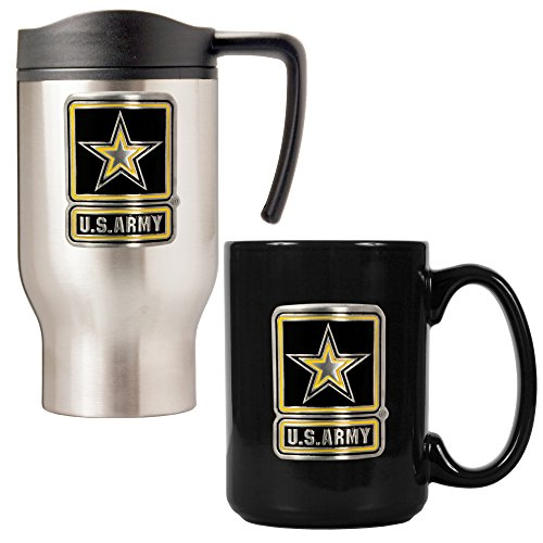 Army Travel Mug and Coffee Mug Set (2-Piece), 16/15-Ounce, Black/Silver (Army Mug Travel)