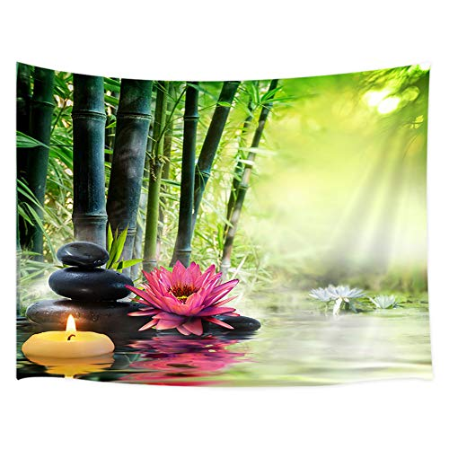 Japanese Garden View Tapestry Wall Hanging, Spa Water Lotus Flower Zen Stone Relaxation Bamboos Candles, Home Decor Tapestries Wall Blanket For Bedroom Living Room Dorm 60X40 Inches, Green Red Black from JAWO