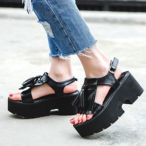 Retro Fondo black Estudiantes Zapatos de De Mujer Simple Verano Roma De Plano GTVERNH Sandalias Salvaje Oqv6v