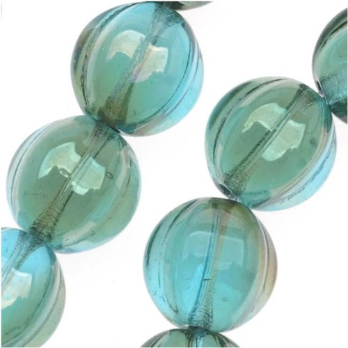 Beadaholique Czech Pressed Glass 25-Piece Round Melon Beads, 8mm Diameter, Aquamarine -