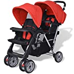 Vislone 2 Tandem Stroller Double Pushchair with Anti-UV Covers Foldable Trolley Steel
