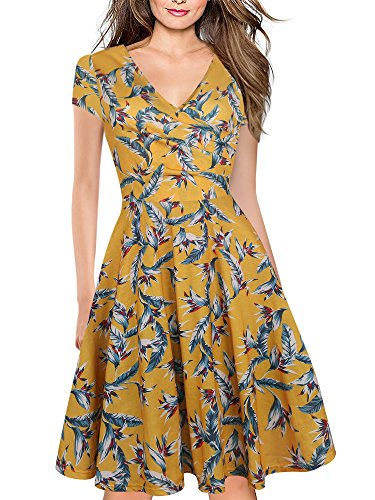 Pattern Yellow Cross (oxiuly Women's Vintage V-Neck Cap Sleeve Floral Casual Cocktail Party Swing Dress OX233 (M, Yellow White))