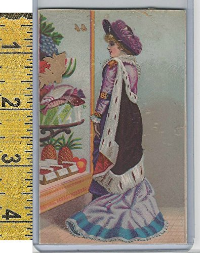 (Victorian Card, 1890's, Culture & People, Market Window, Fish, Pineapple (A104))
