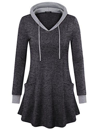 VALOLIA Women's Pullover Hooded Sweatshirt Long Sleeve Color Block Tunic Top with Pockets (Medium, Black Gray) (Boots Sweater Dresses)
