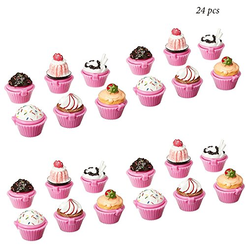 Adorox Scented Novelty Cupcake Lip Gloss Lip Balm Makeup Girls Birthday Party Favors (Assorted (24 Pieces)) (Lip Balm Favors)
