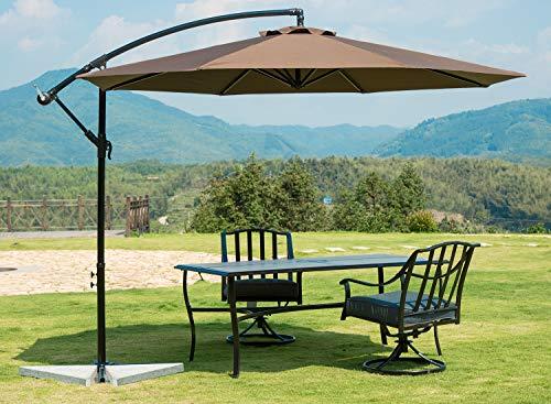 SUNBRANO 10 Ft Cantilever Offset Patio Umbrella Outdoor Aluminum Hanging Umbrella with Crank and Air Vent, 8 Ribs, Coffee (Umbrella Hanging)