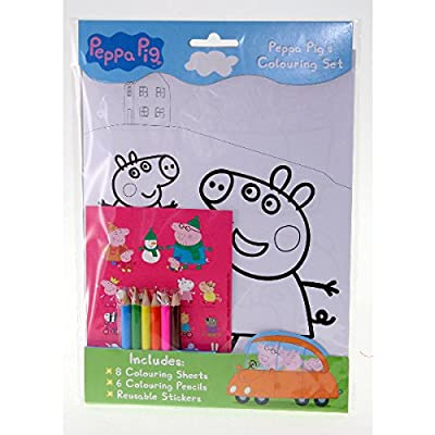 Peppa Pig Coloring Set- Pencils, Stickers, Coloring in Paper: Toys & Games