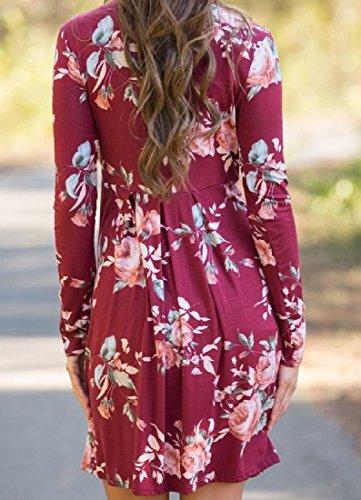 Pull À Manches Longues Imprimé Floral Élégant Femmes Coolred Mi Robe Rouge
