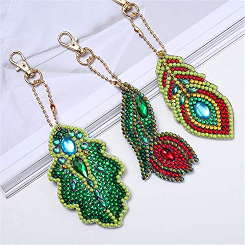 CRPSEN 3 Pieces DIY Diamond Painting Keychain Rose Leaves 5D Mosaic Making Full Drill Special Shape Diamond Painting Pendant for Art Craft Key Ring Phone Charm Bag Decor