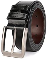 "Beltox Fine Men's Casual Leather Jeans Belts 1 1/2"" Wide 4MM Thick Alloy Prong Buckle Work Dress Belt for Men(Black,30-32)"