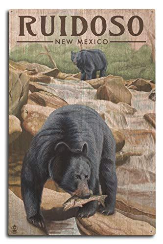 (Lantern Press Ruidoso, New Mexico - Black Bears Fishing (10x15 Wood Wall Sign, Wall Decor Ready to Hang))