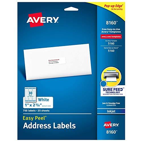 Avery Easy Peel Address Labels, Inkjet Printers, White, 1