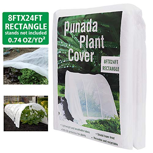 punada Premium Plant Covers Freeze Protection 8Ft x 24Ft Reusable Plant Covers for Winter Frost Freeze Protection Covers Anti-UV for Snow Animal 35ºF Frost Protection -0.74 oz/yd² (Frame not - Cover Fabric Row