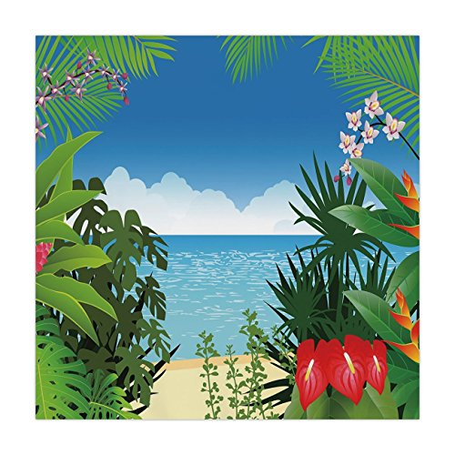 iPrint Satin Square Tablecloth,Leaf,Beach Theme Island Jungle Sea Shore Ocean View with Side Flowers Crepe Gingers Print,Multicolor,Dining Room Kitchen Table Cloth Cover