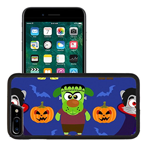 [Luxlady Premium Apple iPhone 7 Plus Aluminum Backplate Bumper Snap Case IMAGE ID: 31870702 Seamless with animal in Halloween] (Makeup For A Bat Costume)