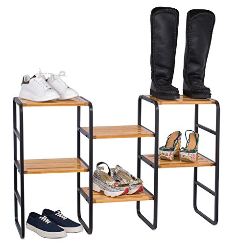 Multipurpose Free Standing Storage Shelf Tower | Shoe Rack | Bamboo and Metal | 6 Tier | Narrow | Adjustable | Natural (Tall Narrow Shelves Metal)