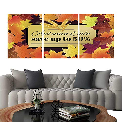 UHOO Pictures Paintings on Canvas WallAutumn Sale Poster Flyer Card Template with Typography Bright Fall Maple Leaves Spica rowanberry Vector Illustration 4. Brick Wall Stickers 16