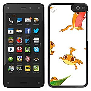 A-type Arte & diseño plástico duro Fundas Cover Cubre Hard Case Cover para Amazon Fire Phone (Frog White Cute Kids Funny Character)