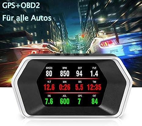 Head Up Display Auto Ikikin Auto Hud Display Obd2 Gps Lcd Head Up Display Geschwindigkeitsmesser Auto Höhe Überdrehzahlalarm Für Allen Auto Auto