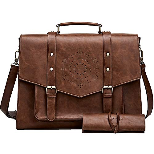 (SOSATCHEL Faux Leather Vintage 15.6 Inch Laptop Bag, Messenger Satchel Shoulder Bag for Men and Women, Brown)