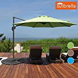 Sundale Outdoor 10ft Sunbrella Fabric Offset Hanging Umbrella Market Patio Umbrella Aluminum Cantilever Pole with Crank Lift, Corss Frame, 360°Rotation, for Garden, Deck, Backyard (Macaw)