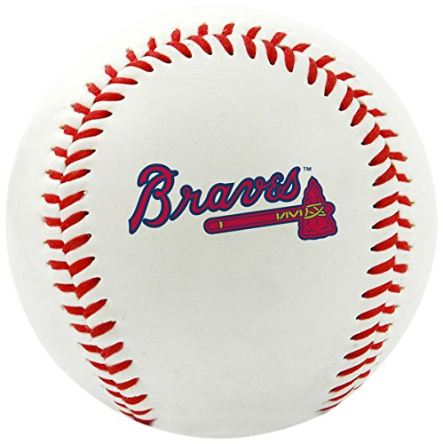 Rawlings MLB Atlanta Braves Team Logo Baseball, Official, White