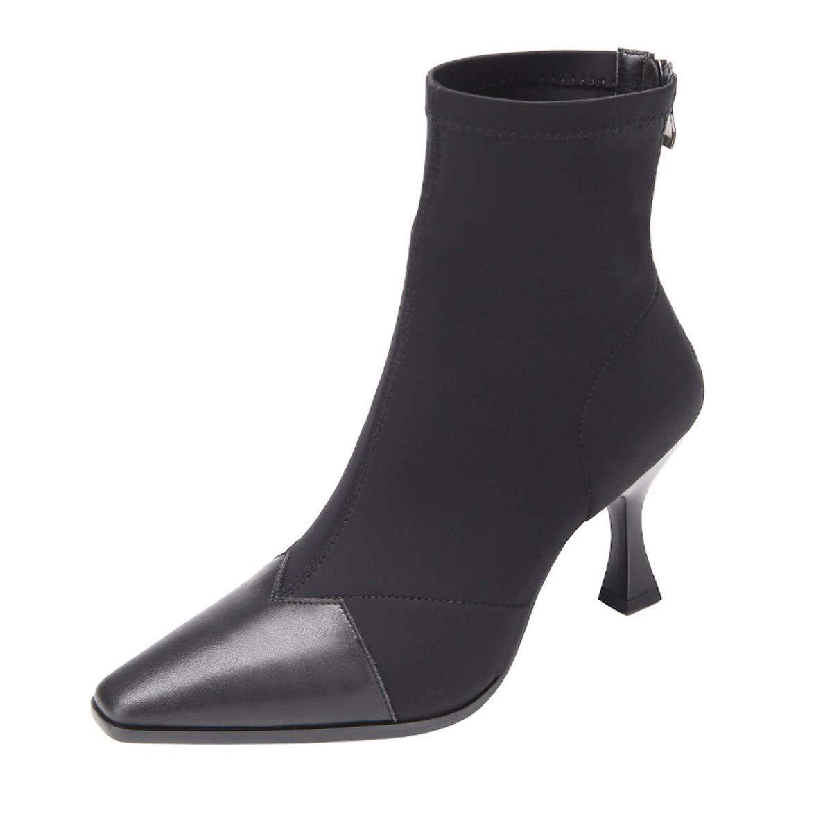 LBTSQ Damenschuhe Elastisch Mit Hohen 8 cm Kurze Stiefel Farbabstimmung Gut Verfolgen Ma Dingxue