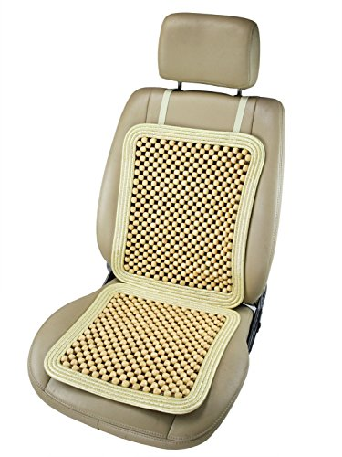 """ObboMed SW-7340 Natural Wood Beaded Cushion, Comfort Massage Seat Cover for Car, Bench, Office Computer Chair, Wheelchair, Wooden Beads, Cream, 37"""" x 17""""/92 x 43 cm, 1 (Pce Wood)"""