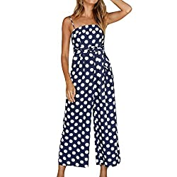 Vermers Hot Sale Women Strappy Jumpsuits And Rompers Fashion Sleeveless Summer Beach Party Playsuits M Navy
