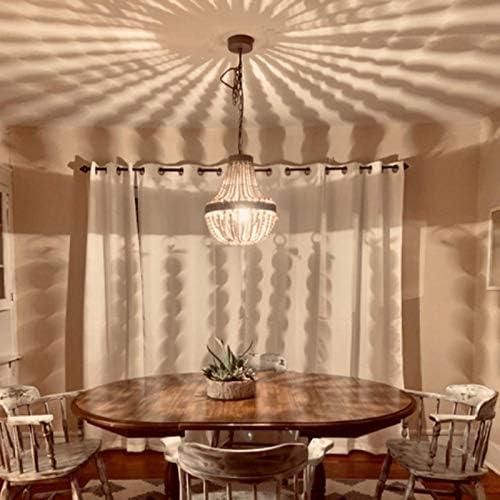 Newrays Wood Bead Chandelier Pendant Gray White Finishing Bohemian Boho Beachy Ceiling Lamp Light Fixtures