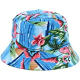 BYOS Fashion Packable Reversible Black Printed Fisherman Bucket Sun Hat, Many Patterns (Tropical Flamingo Blue)