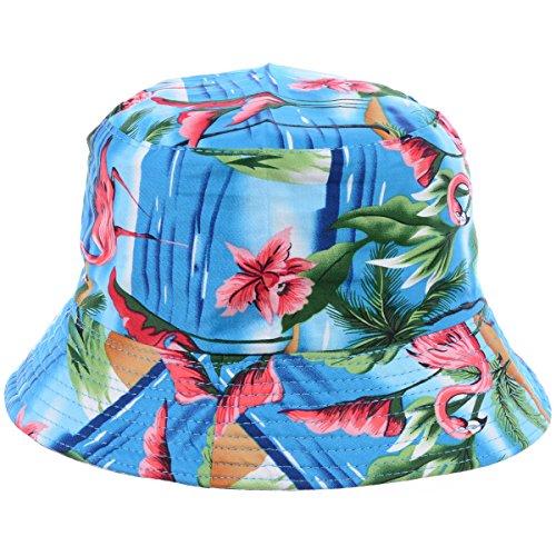 BYOS Fashion Packable Reversible Black Printed Fisherman Bucket Sun Hat, Many Patterns (Tropical Flamingo - Pattern Flamingo