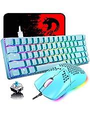 60 % mekaniskt mini 68 tangenter RGB bakgrundsbelyst trådbundet USB C speltangentbord + lätt regnbågsbakgrundsbelysning 6400 DPI bikakemus + musmatta kompatibel med PS4, PS5, Xbox, PC, bärbar dator, MAC – blå/blå strömbrytare
