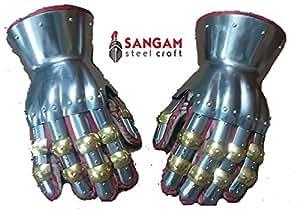 Functional Medieval Reenactment SCA Milanese Gauntlets 16G Steel Mitten SCA LARP Silver