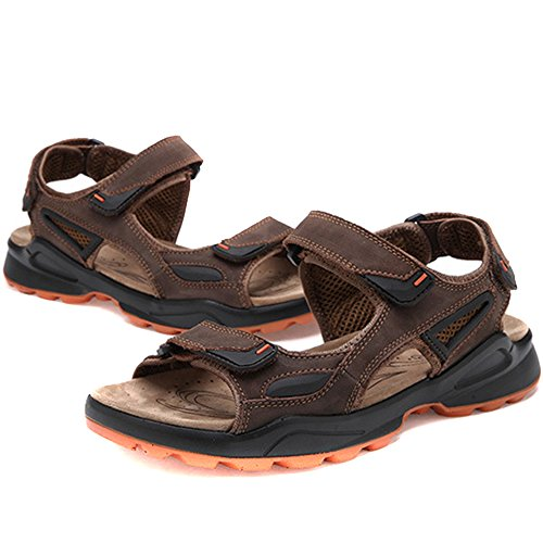 Brown Men's Men REETENE Sandals Beach Summer Straps Outdoors Shoes Sports Velcro for FddqPO6