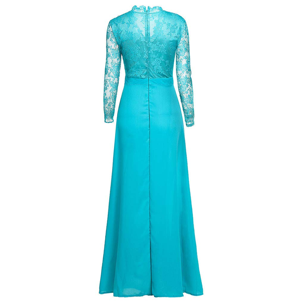 Women Bridesmaid Pleated Dresses Deep V-Neck Lace High Waist Boho Long Dress Cocktail Pageant Wedding Party Prom Ball Gown Blue Women Evening Party Ball Prom Wedding Long Dress