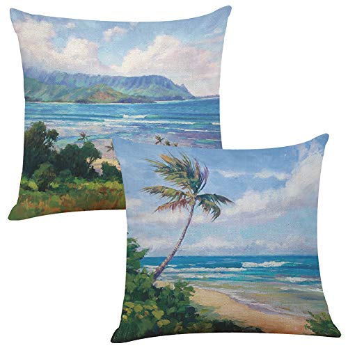 Tropical Throw Pillow Covers Botanic Sandy Beach Island with Coconut Palm Trees Seaside Print Decorative Square Accent Pillow Case Cushion Covers Zippered Set of 2 18X18 Inches (Covers Throw Pillow Tropical)