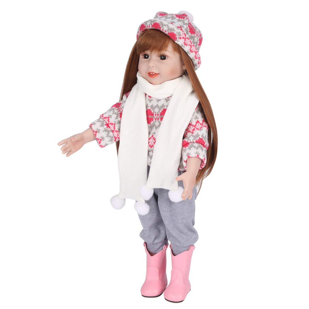 Birdfly Type:9302 Reborn Toddler Smile Baby 22 inch Doll Sit Artificial Elephant Jumpsuit Girl Silicone Lifelike Toy
