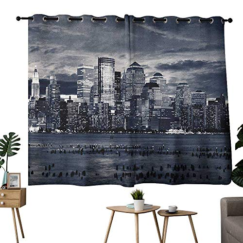 homecoco City Grommets Party Darkening Curtains Dramatic View of New York Skyline from Jersey Side Clouds Buildings Curtain Door Panel Charcoal Grey Black White W55 x -