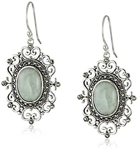 Sterling Silver Oval Jade and Marcasite Vintage Drop Earrings