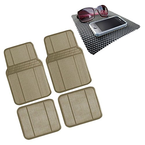 FH Group FH-F11303 Protective Rubber All Weather Floor Mats w. FREE GIFT, Beige Color-Fit Most Car, Truck, Suv, or Van by FH Group