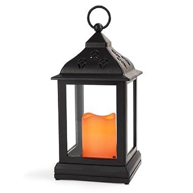 Bright Zeal 10  Decorative Lantern with LED Candle - Lanterns Battery Powered LED Decorative - Lantern Candle Holder - Home Decor Candle Lanterns Decorative Indoor - Black Lanterns for Weddings Decor