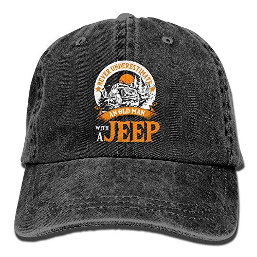 Usa Wool Jeep Cap - an Old Man with A Jeep T Shirt Denim Cap Classic Baseball Hat Women&Men,Black,One Size