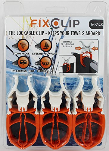 FIXCLIP - 6-Pack The Storm Proof & Lockable Clip - Keeps your towels aboard! Clothespins for - Guard Systems Security Carts Tech