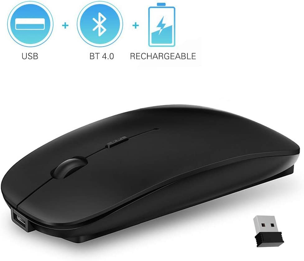 QIJIAYI 2.4GHz Wireless Bluetooth Mouse, Dual Mode Slim Rechargeable Wireless Mouse Silent USB Mice, 3 Adjustable DPI,Compatible for Laptop Windows MacBook Android MAC PC Computer (Black)